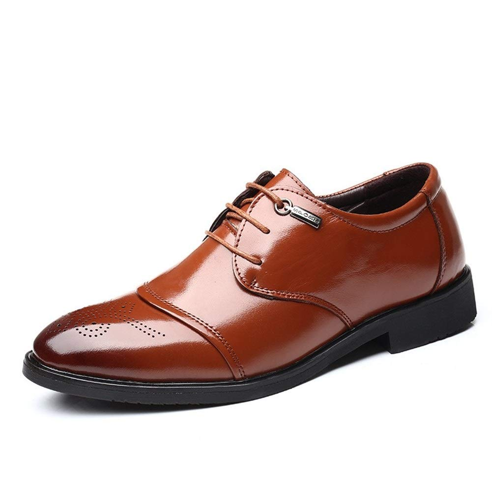 Fashion Wild Genuine Leather Pointed Toe Wedding Block Heel Cap Toe Patent Brogue Carve Business Oxford for Men Formal Shoes Lace up Style Super Cost-Effective by KELITA-SHOES
