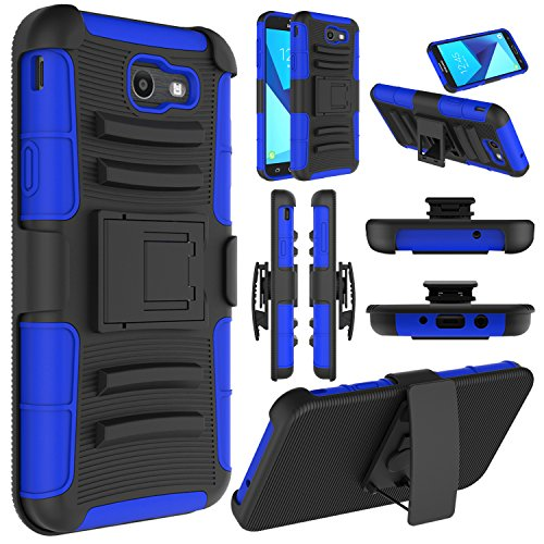 Elegant Choise Galaxy J7 Sky Pro Case, Galaxy J7 V Case, Galaxy J7 Perx Case, Heavy Duty Full Body Protective Case Cover with Belt Swivel Clip and Kickstand for Samsung Galaxy J7 2017 (Blue/Black)