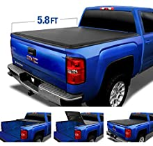 Tyger Auto (Soft Top T3 Tri-Fold Truck Tonneau Cover TG-BC3C1006 Works with 2014-2019 Chevy Silverado/GMC Sierra 1500 | Fleetside 5.8' Bed | for Models Without Utility Track System