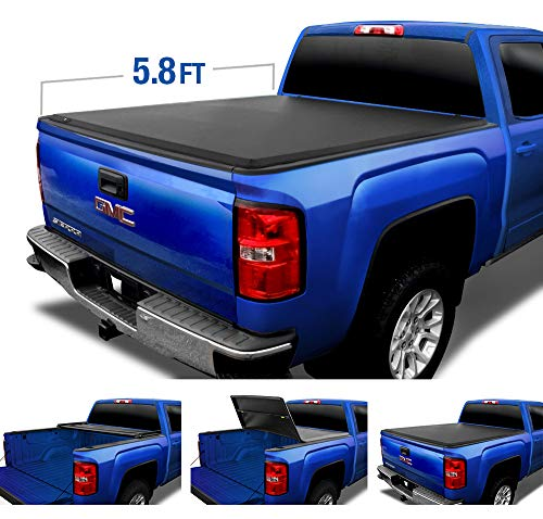 Tyger Auto (Soft Top T3 Tri-Fold Truck Tonneau Cover TG-BC3C1003 Works with 2007-2013 Chevy Silverado/GMC Sierra 1500 (Excl. 2007 Classic) | Fleetside 5.8' Bed