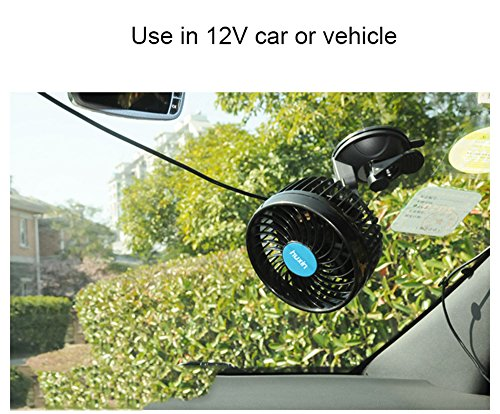 Wua 12V 6 inch Car Cooling Fan Automobile Vehicle Adjustment Suction Cup Fan Powerful Quiet Ventilation Electric Fans with Suction Cup & Cigarette Lighter Plug for Car/ Vehicle by Wuao (Image #7)
