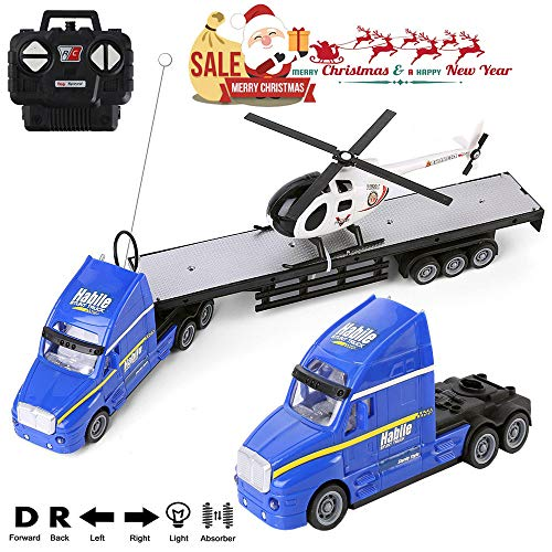 RC Truck Car 1/20 Battery Powered RC Military Transport Carrier Truck Toy with Helicopters, Big Rig Semi Long Hauler Trailer Truck with Lights & Sounds, Ideal for Boys & ()