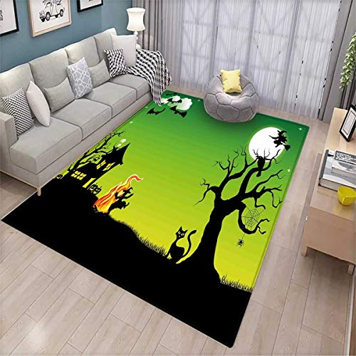 Halloween Door Mats for Inside Witches Dancing with Fire and Flying at Halloween Ancient Western Horror Image Bath Mat for tub Bathroom Mat Green Black for $<!--$62.00-->