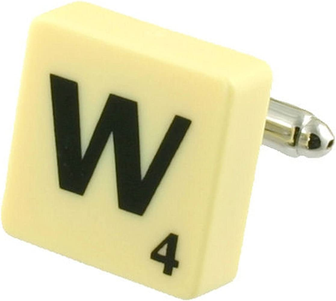 Letra W Scrabble gemelos (compre 2 para un Cuff Links) Seleccione bolsa de regalo: Amazon.es: Ropa y accesorios