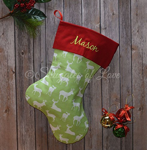 embroidered green deer christmas stocking chartreuse green reindeer stocking with red cuff and optional personalized