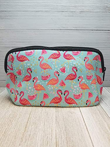 Flamingo & Watermelon Neoprene Makeup Cosmetic Bag, Pencil Case.]()