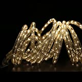24 Foot Rope Light featuring 288 Super Bright Heavy Duty Warm White LEDs - Expandable into a 216 Foot light strand