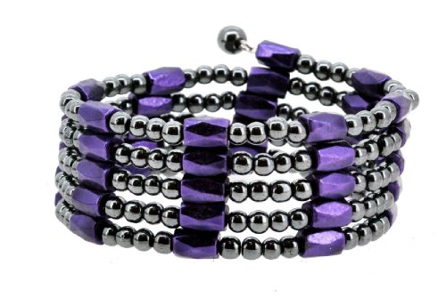 Purple Magnetic Simulated Hematite Beaded Necklace, Wrap Bracelet, Anklet Wrap Bracelet Anklet