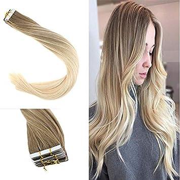 c068be89b6c378 YoungSee 45 cm Tape Echthaar Extensions Blond Balayage 20 Tressen 100% Remy Echte  Haare Unsichtbar