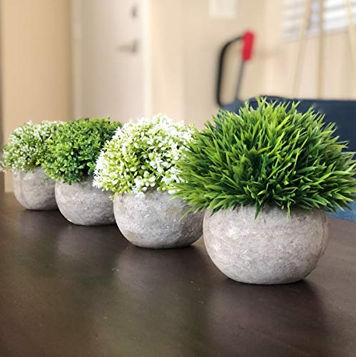 West Dwelling Mini Potted Plants - Small Fake Artificial Succulents For Decoration - Office Desk Home Succulent Plant Decor - Round Pots - Set of 4