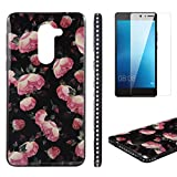 Flower Design Case for Huawei Honor 6X with Screen Protector, OYIME Vintage Floral Pattern Hard Plastic Back + Soft Silicone Glitter Rhinestones Frame 2 in 1 New Hybrid Black Cover Thin Slim Fit Protection Shockproof Scratch Resistant Shiny Bling Bumper - Wild Rose