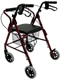 Karman Healthcare R-4100N-BD Aluminum Junior Rollator with Low Seat, Burgundy, 6 Inches Casters