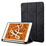 Robustrion Marble Series Trifold Flip Stand Case Cover with Pencil Holder for iPad Air 3 2019 10.5 inch - Black