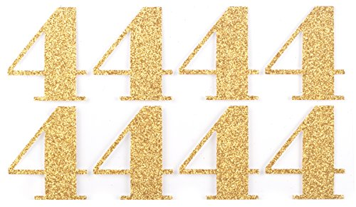 Metalic Streamers - Event CircleSquare Metalic Gold Silver Glitter Sticker Numbers (#4 Gold)