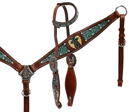 Showman Medium Oil Leather Headstall and Breast Collar with Alligator Print Inlay and Painted Winged Cross ()