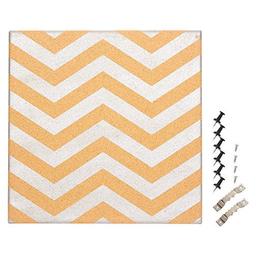 (Cork Bulletin Board - Decorative Wall DecorCorkboard with Silver Chevron Design, 6 Push Pins Included for Pinning Memos and Reminders, 15.7 x 15.7 x 0.7 inches)