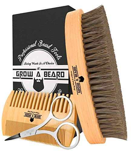 Beard Brush & Comb Set for Men Care - Gift Box & Friendly Bag - Best Bamboo Grooming Kit Great to Distributes Balm or Oil for Growth & Styling - Adds Shine & Softness (Bamboo Oval)