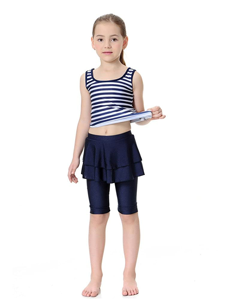CaptainSwim Kid's Sleeveless Swimsuit Muslim Islamic Two Piece Modest Swimwear