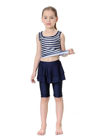 67cc7eff10 Kid's Sleeveless Swimsuit Muslim Islamic Two Piece Modest Swimwear (Asia L,  navy blue)