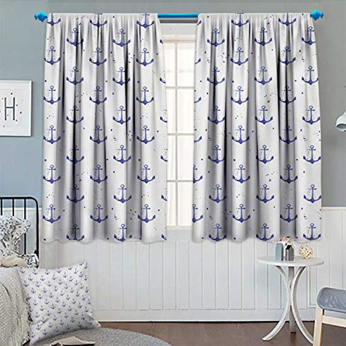 Anchor,Blackout Curtain,Aquarelle Anchor Motifs with Paint Splashes Nautical Monochrome Design,Waterproof Window Curtain,Violet Blue and White,W72 x L63 inch (Steamer Wright)