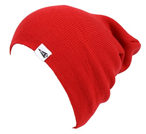 Red Beanie Kids (KooL Hop Kids Boys Girls Baby 100% Pure Cotton Knit Basic Long Beanie Hat Cap Red)