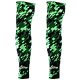 COOLOMG (Pair) Youth Compression Arm Sleeves UV Protection Digital Camo Green Black XXS