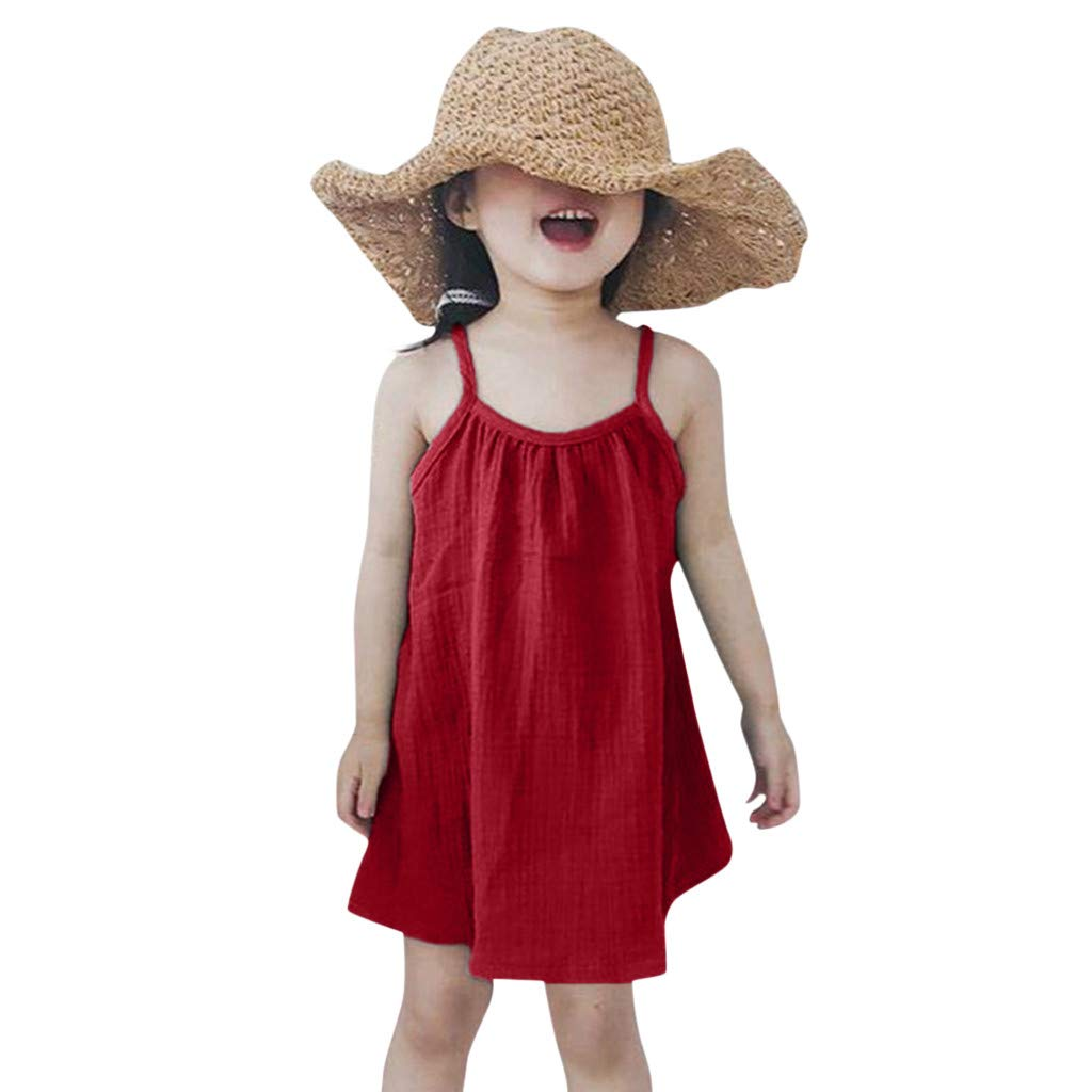 BSGSH Little Girls Dresses Sleeveless Holiday Summer Beach Solid Color Sundresses Outfits