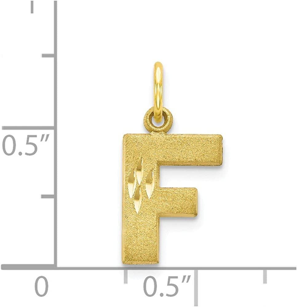 Solid 10k Yellow Gold Initial Letter F Alphabet Charm Pendant