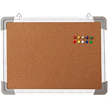 "Bulletin Board Set - Cork Board 16 x 12 "" + 10 Color Pins - Small Mini Hanging Tack Message Memo Picture Board for Home Office School - Presentation, Display and Planning (16x12"" Cork)"