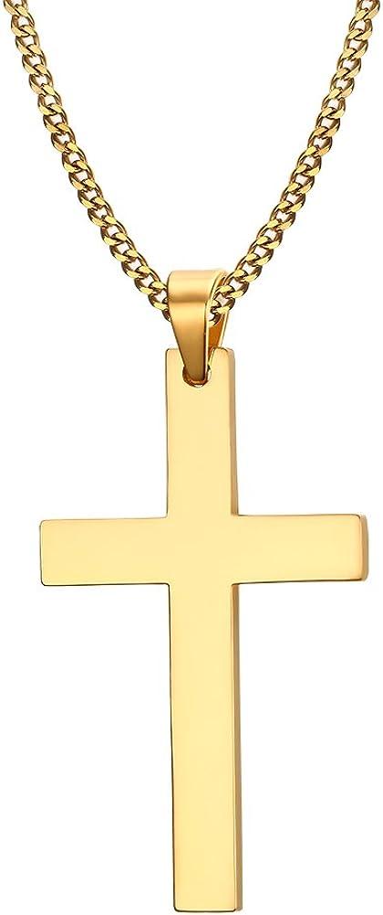 HUANIAN Jewelry - Collar con colgante de cruz cristiana con cadena de acero inoxidable para hombre y mujer