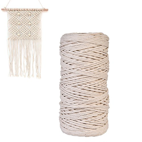 Wholehot DIY綿ロープ コットンひも 手織り綿紐 DIY編み糸 手芸 おもちゃ 編み物用 丈夫な天然コットン 多機能 (直径3mm 長さ200m)