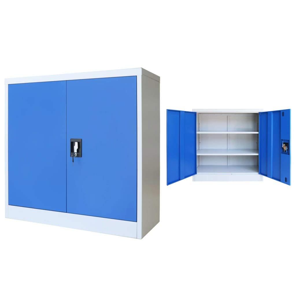 Festnight B/üroschrank Metall Aktenschrank Metallschrank Universalschrank mit 2 Einlegeb/öden 90 x 40 x 90 cm Grau und Blau