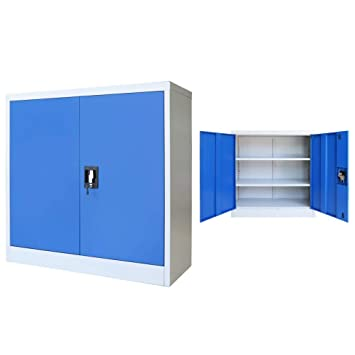 Festnight- Armario de Oficina Archivador de Oficina de Metal con 2 Estantes Ajustables 90x40x90 cm Gris y Azul: Amazon.es: Juguetes y juegos