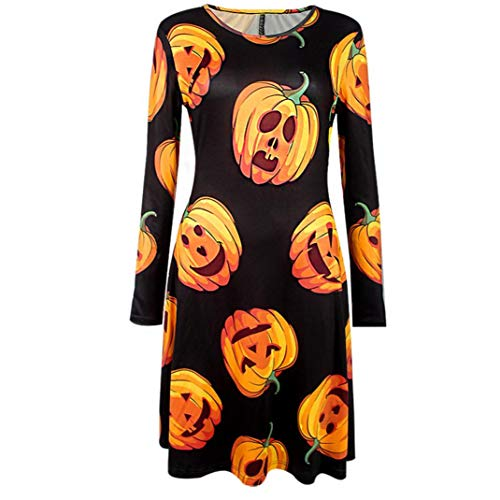 Pumsun ⭐️ Women Halloween Printing Three Quarter Casual Evening Party Prom Swing Dress (S, -