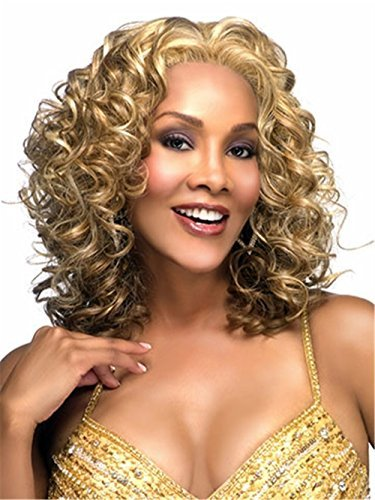 B-G Charming Wigs New Fashion Women Party Big Wavy Sexy Full Hair Wig Human Hair Natural Looking Golden Wigs + A Free Wig Cap WIG032 ()