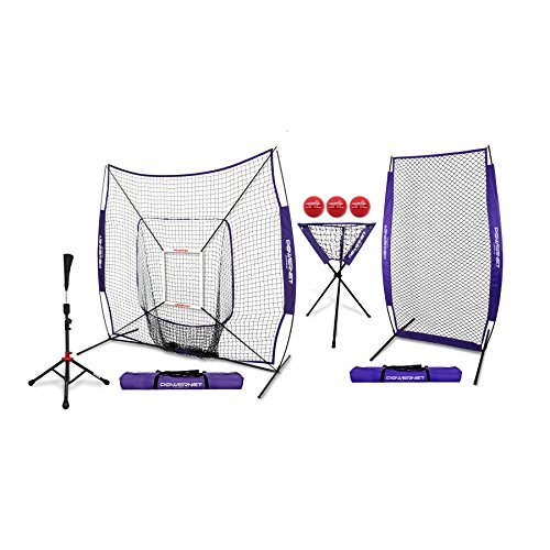 PowerNet [All in ONE Coach Bundle (Purple) 7x7 DLX Practice Net + I-Screen + Deluxe Tee + Ball Caddy + 3 Pack Weighted Training Ball + Strike Zone Bundle | Baseball Softball Pitching Batting ()