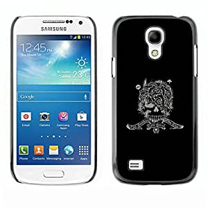 Qstar Arte & diseño plástico duro Fundas Cover Cubre Hard Case Cover para SAMSUNG Galaxy S4 mini VERSION! / i9190 / i9192 ( Army War Soldier Skull Special Forces Sign Black)