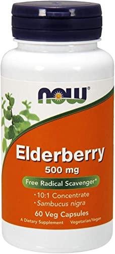 NOW Supplements, Elderberry Sambucus nigra 500 mg, 10 1 Concentrate, 60 Veg Capsules