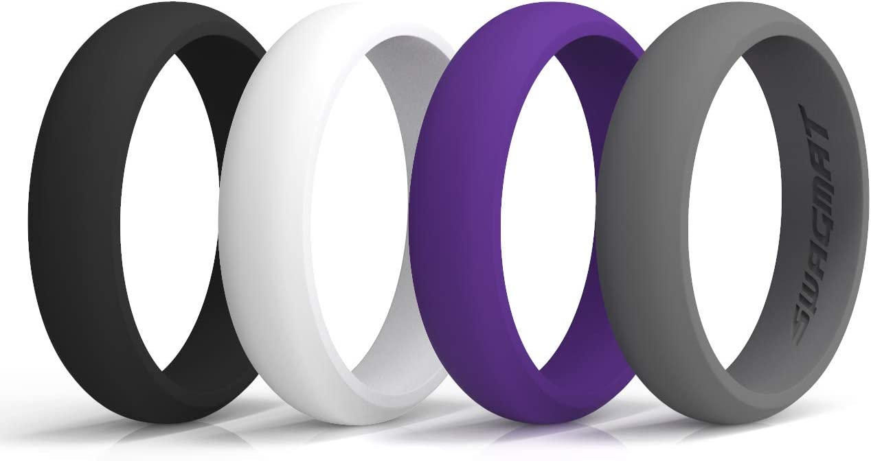 2 mm Thickness Seashell White Black Boulder Gray 5.5 mm Width Swagmat Women/'s Silicone Wedding Ring Royal Purple 4 Ring Pack