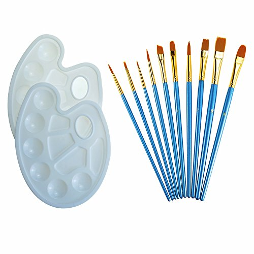 Etmact Professional Gouache Brush,Multifunctional Nylon Thread Drawing Pen, 10 Pieces Paint Brush Used For Acrylic Paints And 2 Plastic Paint Plate Painting Set