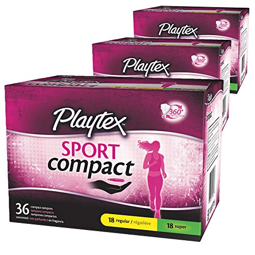 Playtex Sport Multipack Regular and Super Absorbency Compact Tampons, 108 Count
