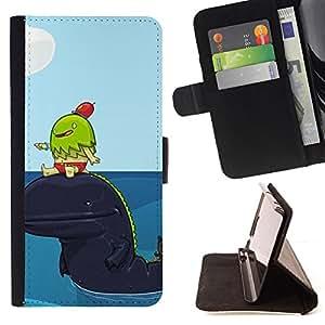 - Cute Whale Friends - - Monedero PU titular de la tarjeta de cr????dito de cuero cubierta de la caja de la bolsa FOR HTC One M8 RetroCandy