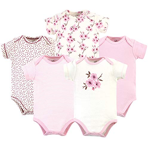 Touched by Nature Unisex Baby Organic Cotton Bodysuits, Cherry Blossom 5 Pack, 0-3 Months (3M) ()