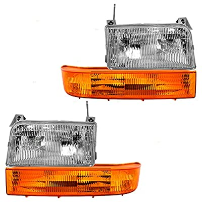 4 Piece Set Headlights w/ Park Signal Corner Marker Lamps Replacement for Ford Bronco F150 F250 F350 Pickup Truck