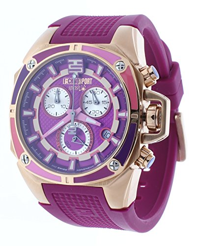 Technosport Swiss Chronograph Dark Pink Silicone Strap Rose Gold Case Women's Watch TS-100-Splash6