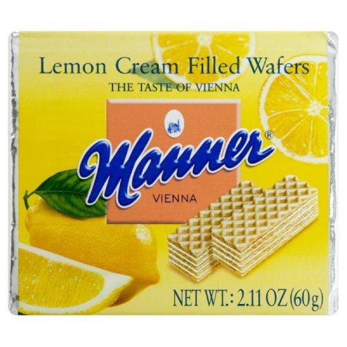 Filled Wafer Cookie (Manner Lemon Cream Filled Wafers 2.54 oz (Pack of 12))