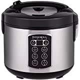 6 cup rice steamer - Rosewill 12-Cup Cooked 6-Cup Uncooked Digital Rice Cooker and Food Steamer with Stainless Steel Exterior RHRC-17001