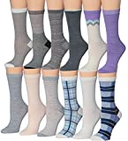Tipi Toe Women's 12 Pairs Colorful Patterned Crew Socks (Summer Pastel (16173031)