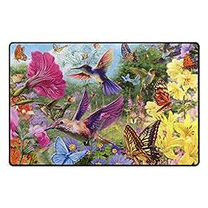 "PersonalizedShop Non-slip Doormat,Beautiful Hummingbird With Flowers 23.6""x15.7"" Top Quality Rug Floor Mat"