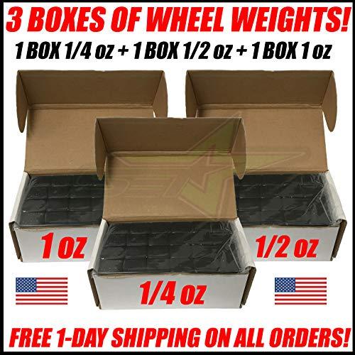 SET Group USA 3 Boxes of Black Wheel Weights 1/4oz + 1/2oz + 1oz Stick-On Adhesive Tape Total 27 LB ()